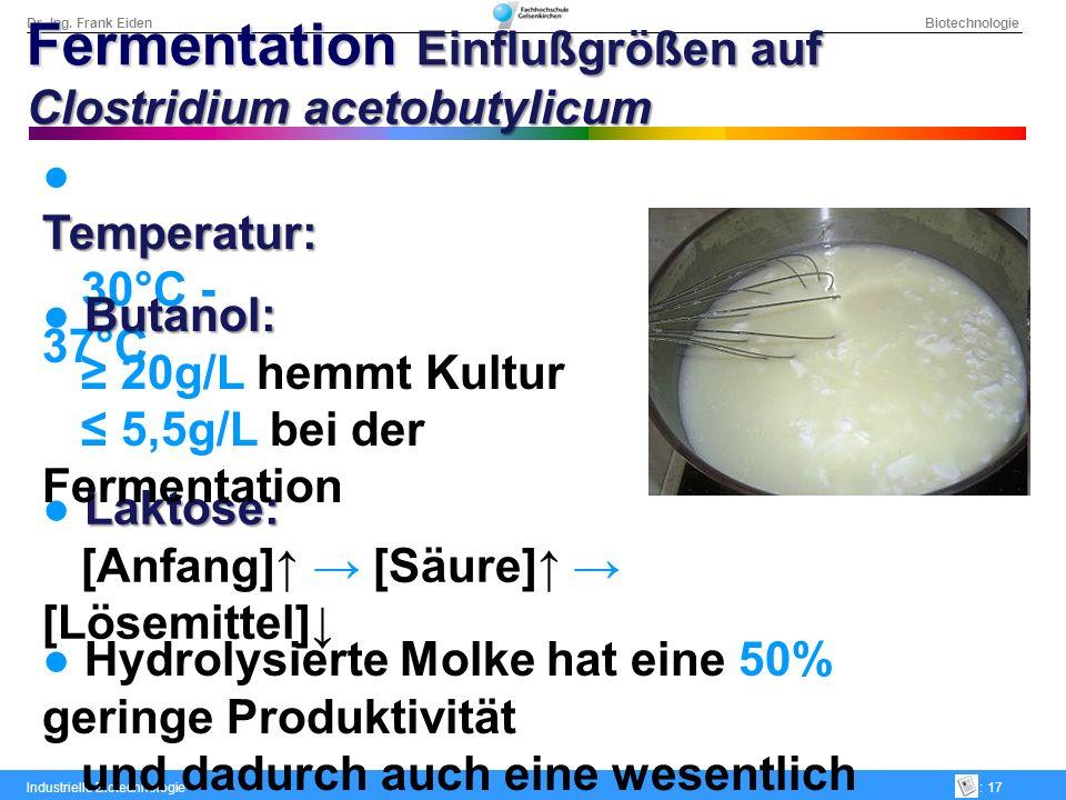 Dr.-Ing. Frank Eiden Biotechnologie Industrielle Biotechnologie: 17 Temperatur: 30°C - 37°C Laktose: [Anfang] [Säure] [Lösemittel] Butanol: 20g/L hemm