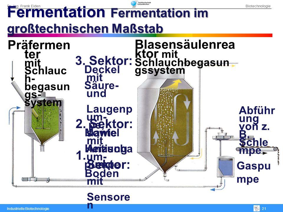 Dr.-Ing. Frank Eiden Biotechnologie Industrielle Biotechnologie: 21 Blasensäulenrea ktor mit Schlauchbegasun gssystem 1. Sektor: Boden mit Sensore n G