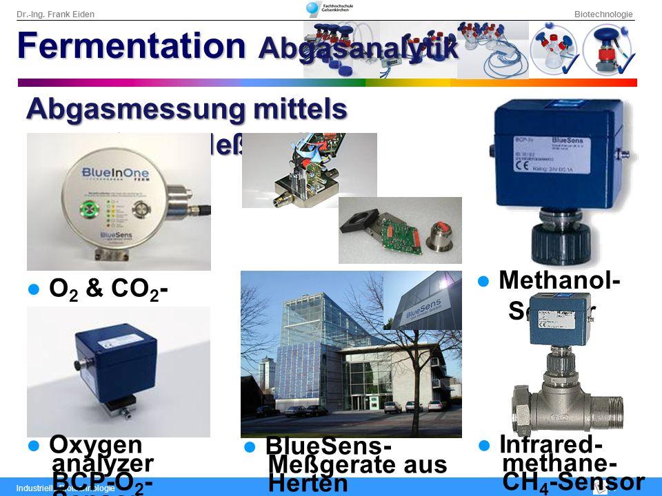 Dr.-Ing. Frank Eiden Biotechnologie Industrielle Biotechnologie: 7 Abgasmessung mittels BlueSens-Meßgerät O 2 & CO 2 - Sensor Methanol- Sensor Oxygen