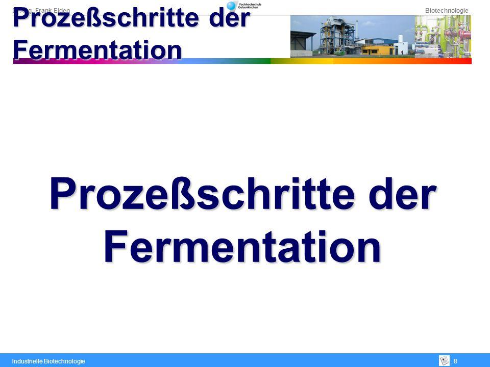 Dr.-Ing. Frank Eiden Biotechnologie Industrielle Biotechnologie: 8 Prozeßschritte der Fermentation Prozeßschritte der Fermentation