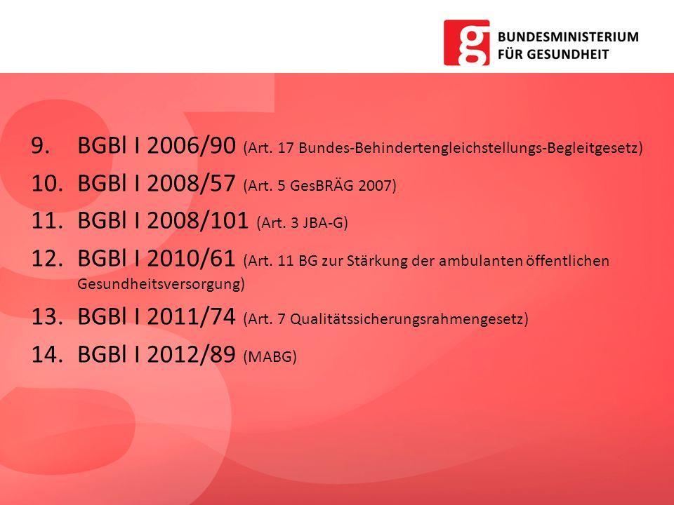 9.BGBl I 2006/90 (Art. 17 Bundes-Behindertengleichstellungs-Begleitgesetz) 10.BGBl I 2008/57 (Art. 5 GesBRÄG 2007) 11.BGBl I 2008/101 (Art. 3 JBA-G) 1