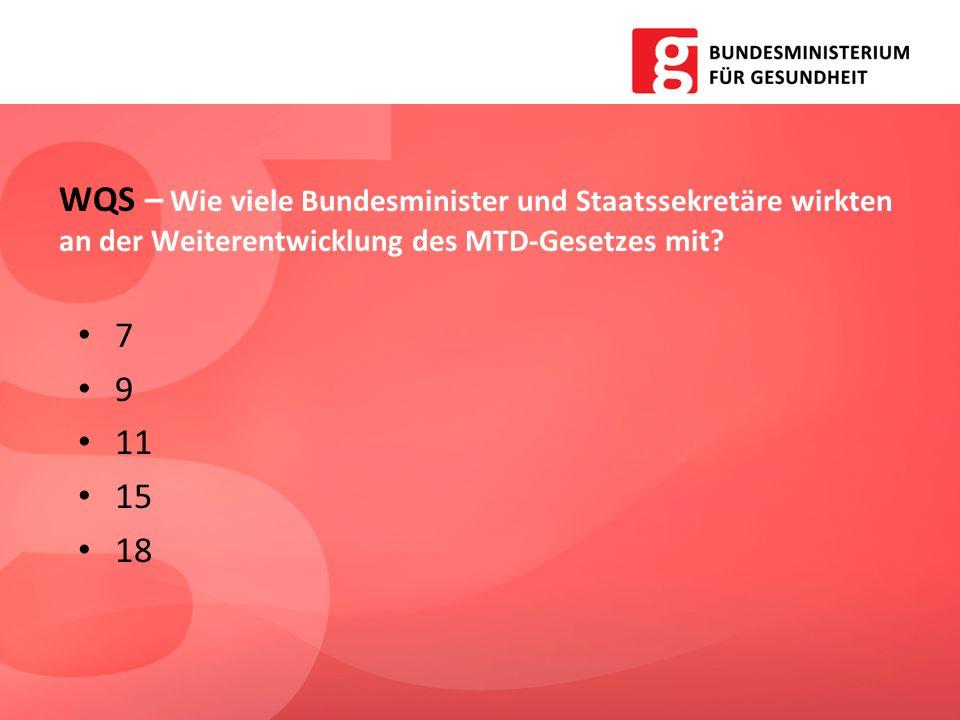 7 9 11 15 18 WQS – Wie viele Bundesminister und Staatssekretäre wirkten an der Weiterentwicklung des MTD-Gesetzes mit?