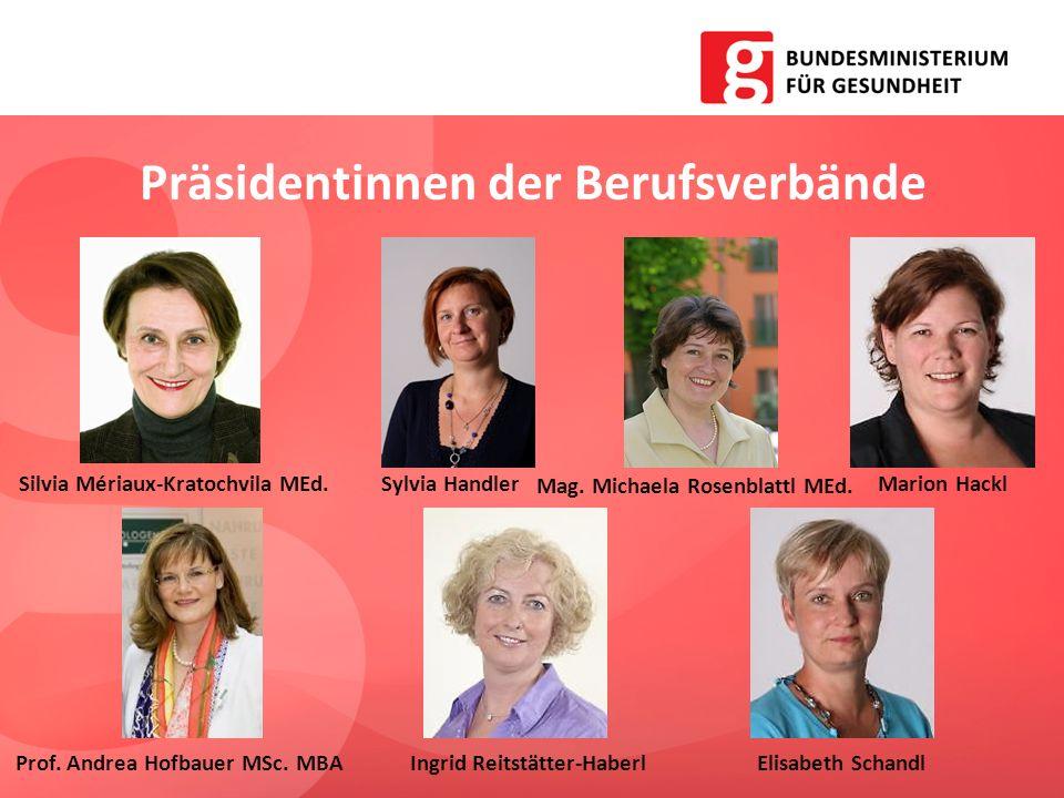 Präsidentinnen der Berufsverbände Silvia Mériaux-Kratochvila MEd.Sylvia Handler Mag. Michaela Rosenblattl MEd. Marion Hackl Prof. Andrea Hofbauer MSc.