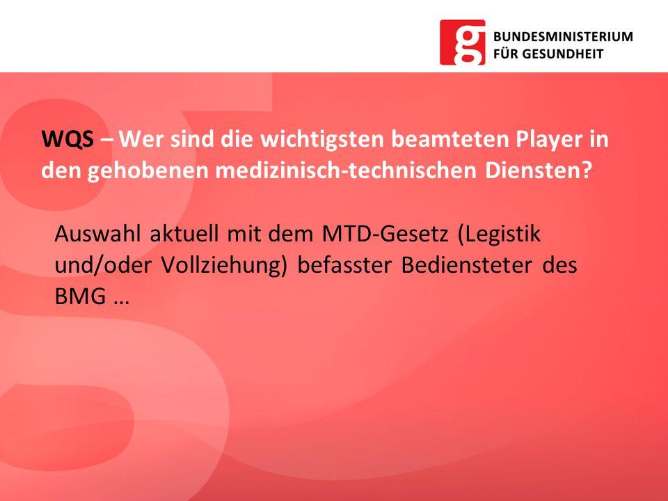 WQS – Wer sind die wichtigsten beamteten Player in den gehobenen medizinisch-technischen Diensten? Auswahl aktuell mit dem MTD-Gesetz (Legistik und/od