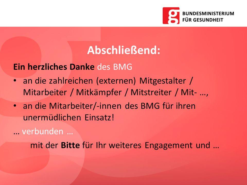 Abschließend: Ein herzliches Danke des BMG an die zahlreichen (externen) Mitgestalter / Mitarbeiter / Mitkämpfer / Mitstreiter / Mit- …, an die Mitarb