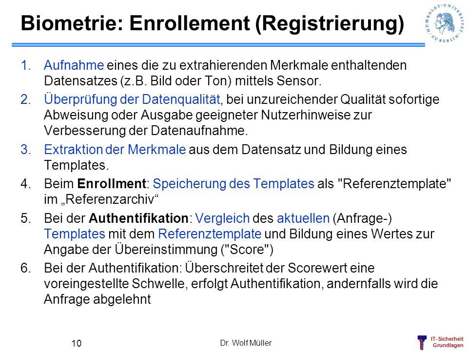 IT-Sicherheit Grundlagen Dr. Wolf Müller 10 Biometrie: Enrollement (Registrierung) 1.Aufnahme eines die zu extrahierenden Merkmale enthaltenden Datens