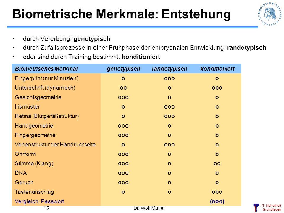 IT-Sicherheit Grundlagen Dr. Wolf Müller 12 Biometrische Merkmale: Entstehung durch Vererbung: genotypisch durch Zufallsprozesse in einer Frühphase de