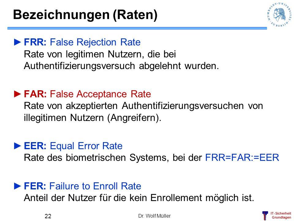 IT-Sicherheit Grundlagen Bezeichnungen (Raten) FRR: False Rejection Rate Rate von legitimen Nutzern, die bei Authentifizierungsversuch abgelehnt wurde