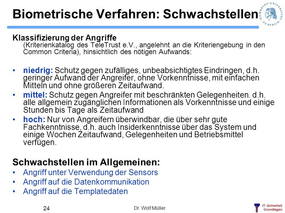 IT-Sicherheit Grundlagen Dr. Wolf Müller 24 Biometrische Verfahren: Schwachstellen Klassifizierung der Angriffe (Kriterienkatalog des TeleTrust e.V.,