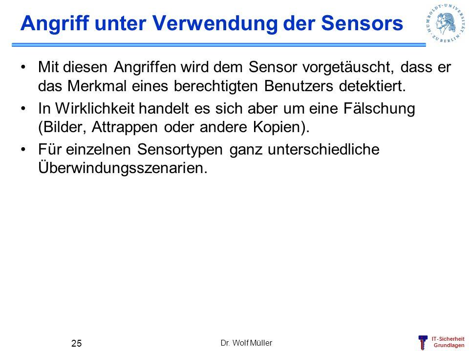 IT-Sicherheit Grundlagen Dr. Wolf Müller 25 Angriff unter Verwendung der Sensors Mit diesen Angriffen wird dem Sensor vorgetäuscht, dass er das Merkma
