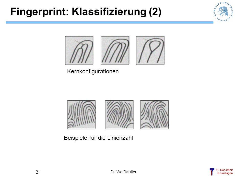 IT-Sicherheit Grundlagen Dr. Wolf Müller 31 Fingerprint: Klassifizierung (2) Kernkonfigurationen Beispiele für die Linienzahl