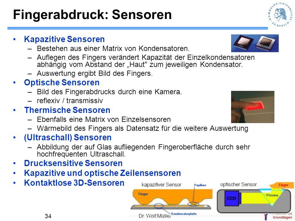 IT-Sicherheit Grundlagen Dr. Wolf Müller 34 Fingerabdruck: Sensoren Kapazitive Sensoren –Bestehen aus einer Matrix von Kondensatoren. –Auflegen des Fi