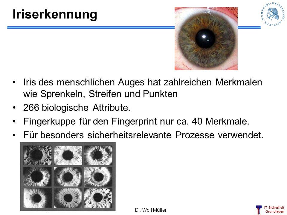 IT-Sicherheit Grundlagen Dr. Wolf Müller 44 Iriserkennung Iris des menschlichen Auges hat zahlreichen Merkmalen wie Sprenkeln, Streifen und Punkten 26