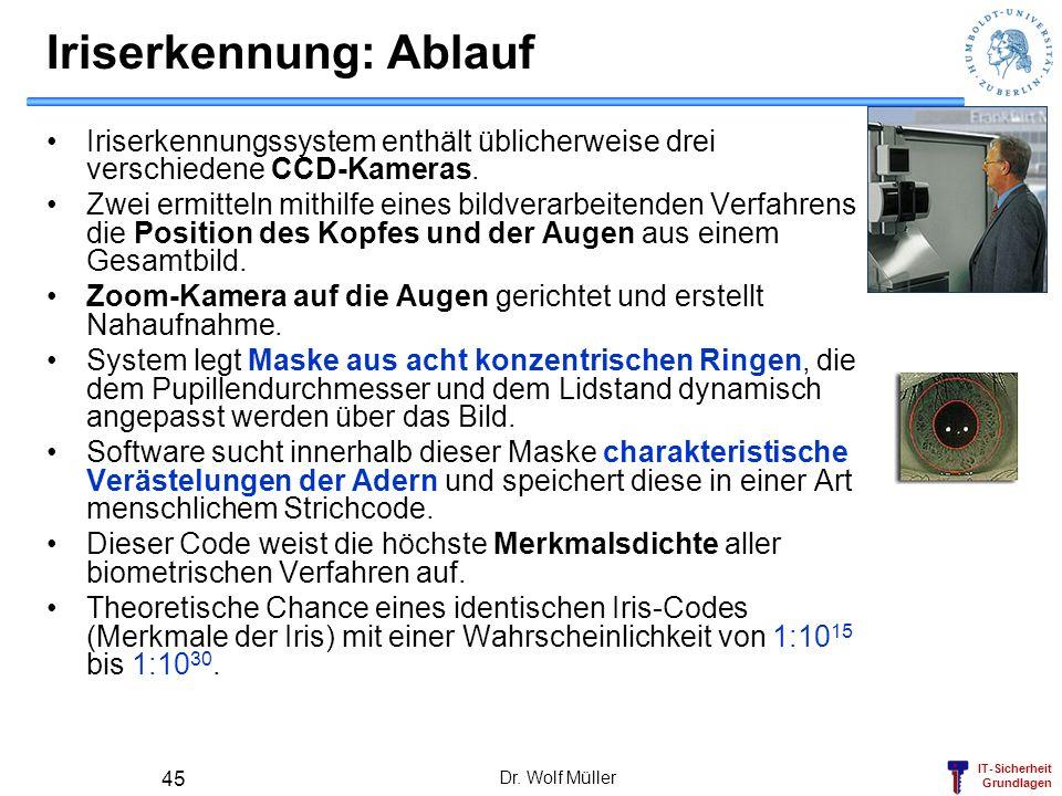 IT-Sicherheit Grundlagen Dr. Wolf Müller 45 Iriserkennung: Ablauf Iriserkennungssystem enthält üblicherweise drei verschiedene CCD-Kameras. Zwei ermit