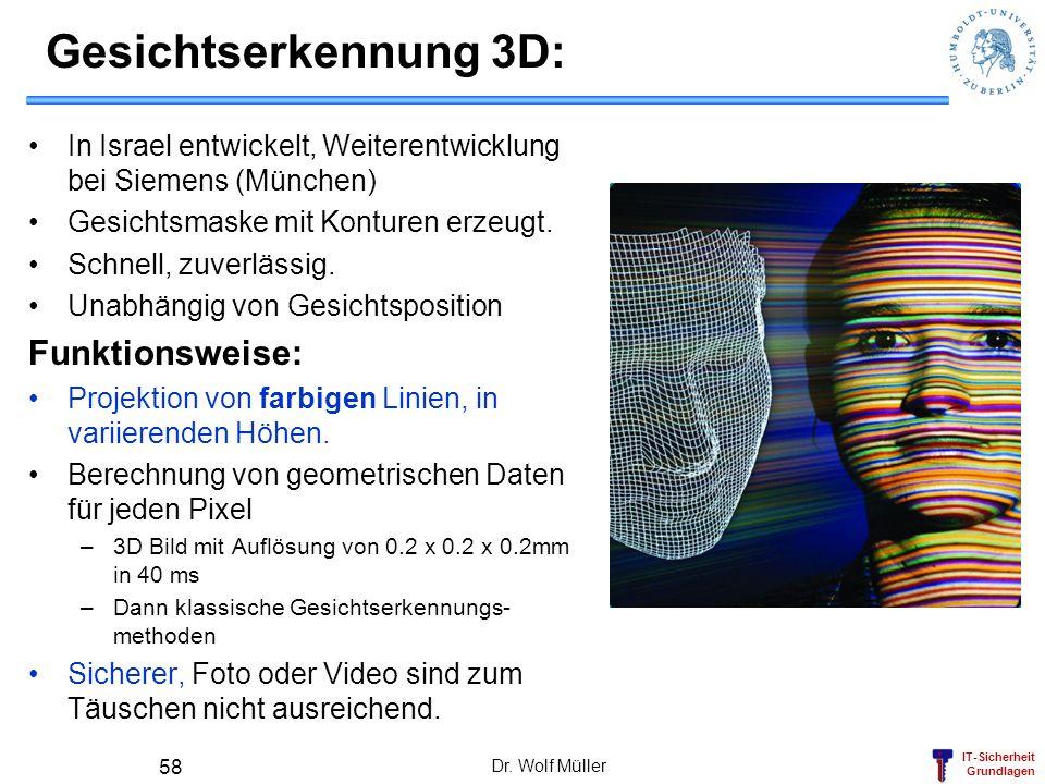 IT-Sicherheit Grundlagen Gesichtserkennung 3D: In Israel entwickelt, Weiterentwicklung bei Siemens (München) Gesichtsmaske mit Konturen erzeugt. Schne