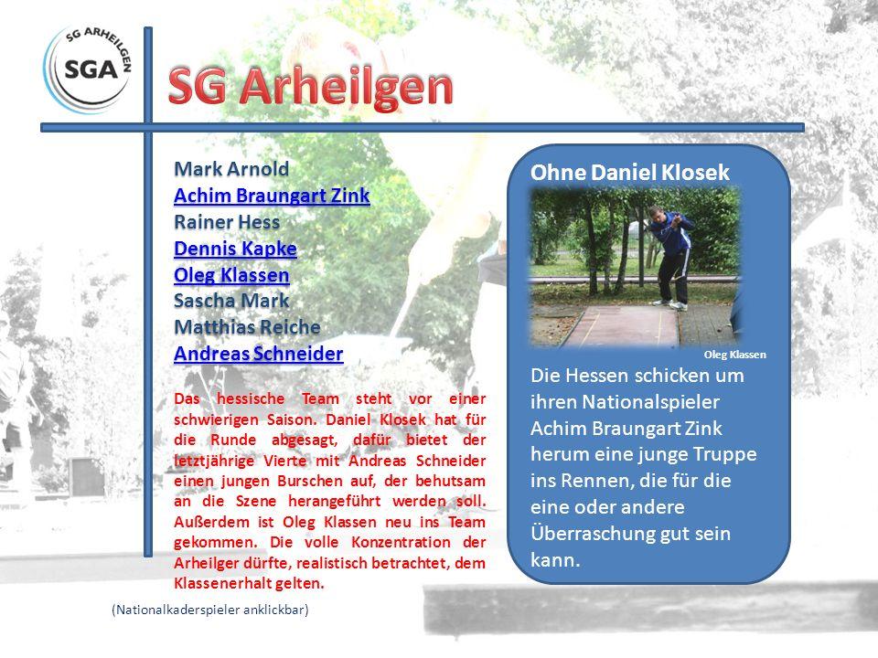 Mark Arnold Achim Braungart Zink Achim Braungart Zink Rainer Hess Dennis Kapke Dennis Kapke Oleg Klassen Oleg Klassen Sascha Mark Matthias Reiche Andr