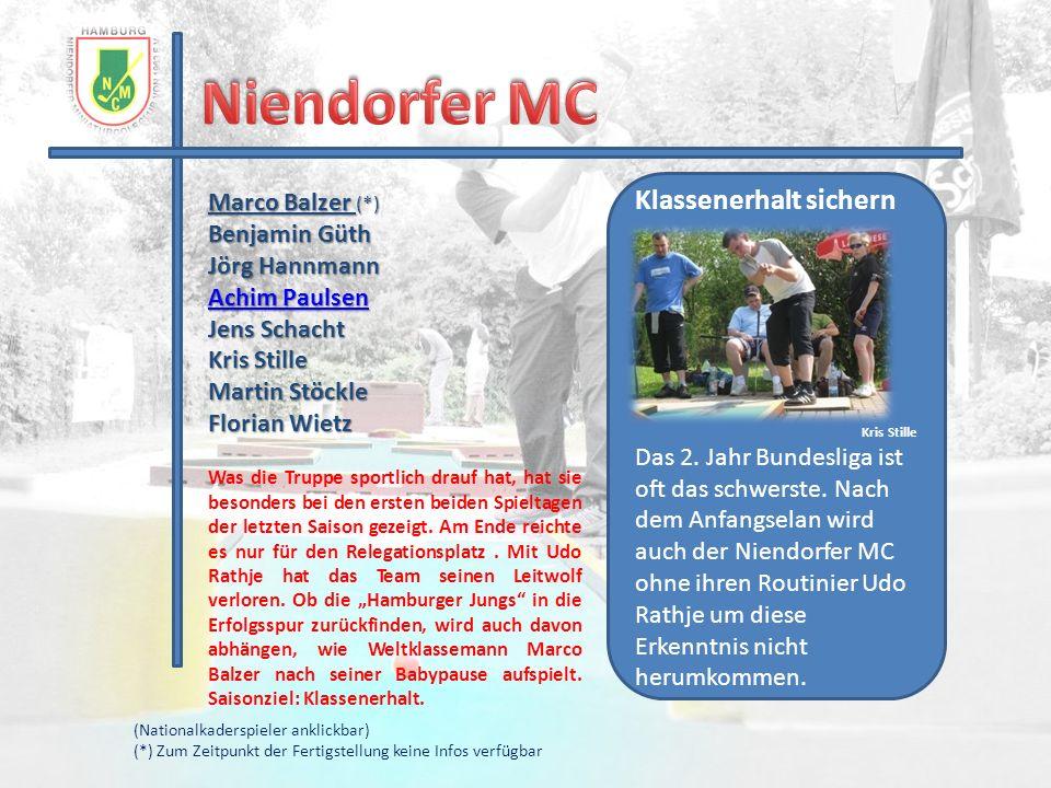 Marco Balzer (*) Benjamin Güth Jörg Hannmann Achim Paulsen Achim Paulsen Jens Schacht Kris Stille Martin Stöckle Florian Wietz Was die Truppe sportlic