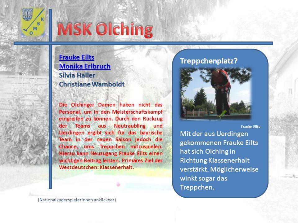 Frauke Eilts Frauke Eilts Monika Erlbruch Monika Erlbruch Silvia Haller Christiane Wamboldt Treppchenplatz? Frauke Eilts Mit der aus Uerdingen gekomme