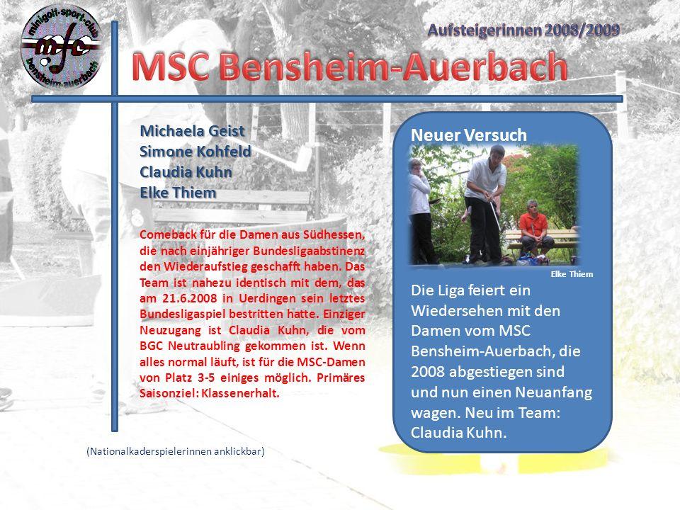 Michaela Geist Simone Kohfeld Claudia Kuhn Elke Thiem Neuer Versuch Elke Thiem Die Liga feiert ein Wiedersehen mit den Damen vom MSC Bensheim-Auerbach