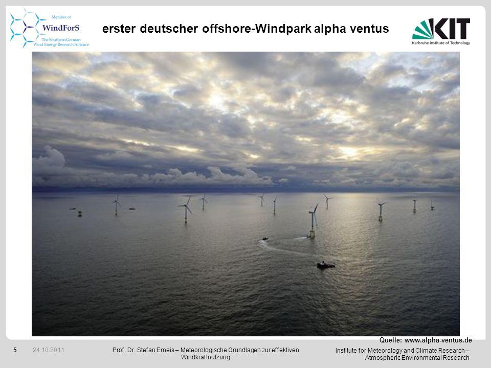 Institute for Meteorology and Climate Research – Atmospheric Environmental Research 26 Große Windparks Turbulenz oder, was sollte man beachten, wenn viele Turbinen dicht beieinander stehen.