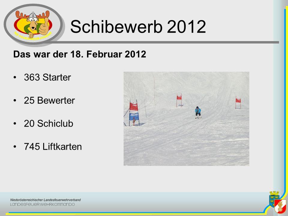 Schibewerb 2012 Das war der 18. Februar 2012 363 Starter 25 Bewerter 20 Schiclub 745 Liftkarten