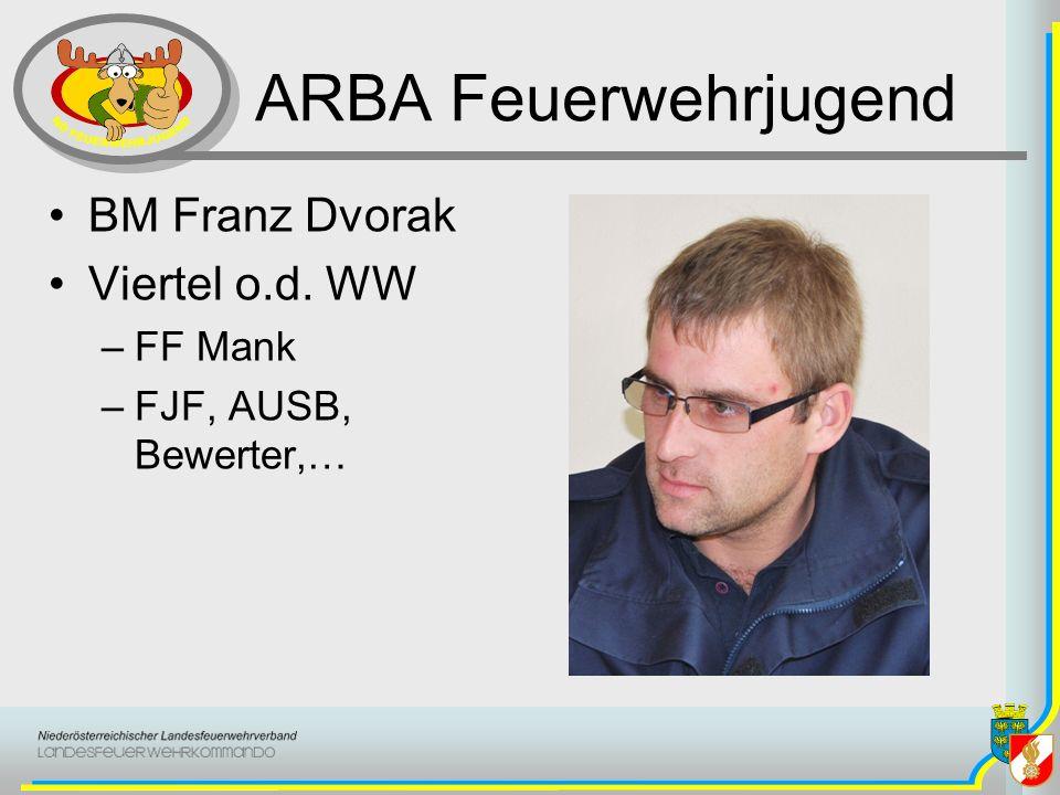ARBA Feuerwehrjugend BM Franz Dvorak Viertel o.d. WW –FF Mank –FJF, AUSB, Bewerter,…