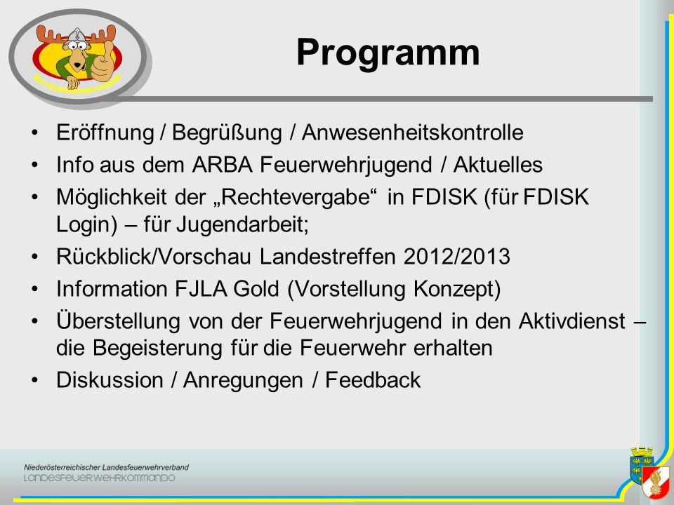 Programm Eröffnung / Begrüßung / Anwesenheitskontrolle Info aus dem ARBA Feuerwehrjugend / Aktuelles Möglichkeit der Rechtevergabe in FDISK (für FDISK
