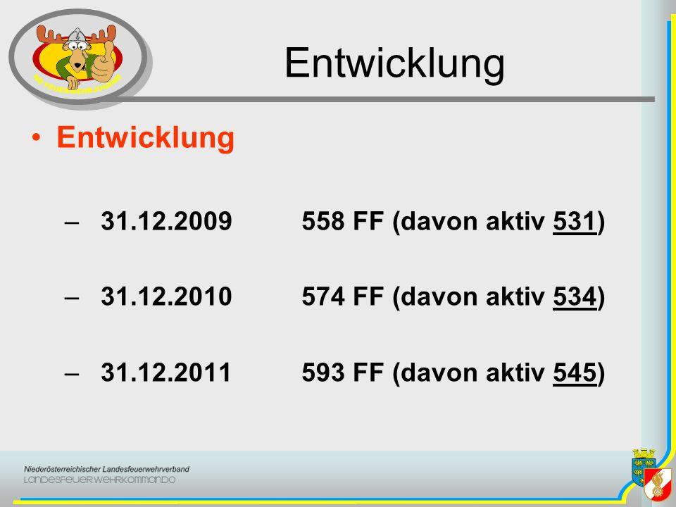 Entwicklung –31.12.2010 4741 Feuerwehrjugendmitglieder –3771 Burschen(80%) –970 Mädchen(20%) –31.12.2011 4659 Feuerwehrjugendmitglieder –3706 Burschen(79,5%) –953 Mädchen(20,5%)