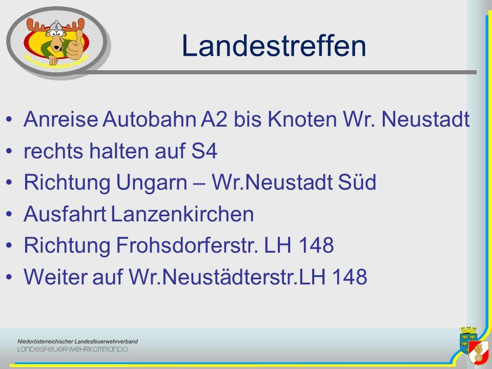 Landestreffen Anreise Autobahn A2 bis Knoten Wr. Neustadt rechts halten auf S4 Richtung Ungarn – Wr.Neustadt Süd Ausfahrt Lanzenkirchen Richtung Frohs