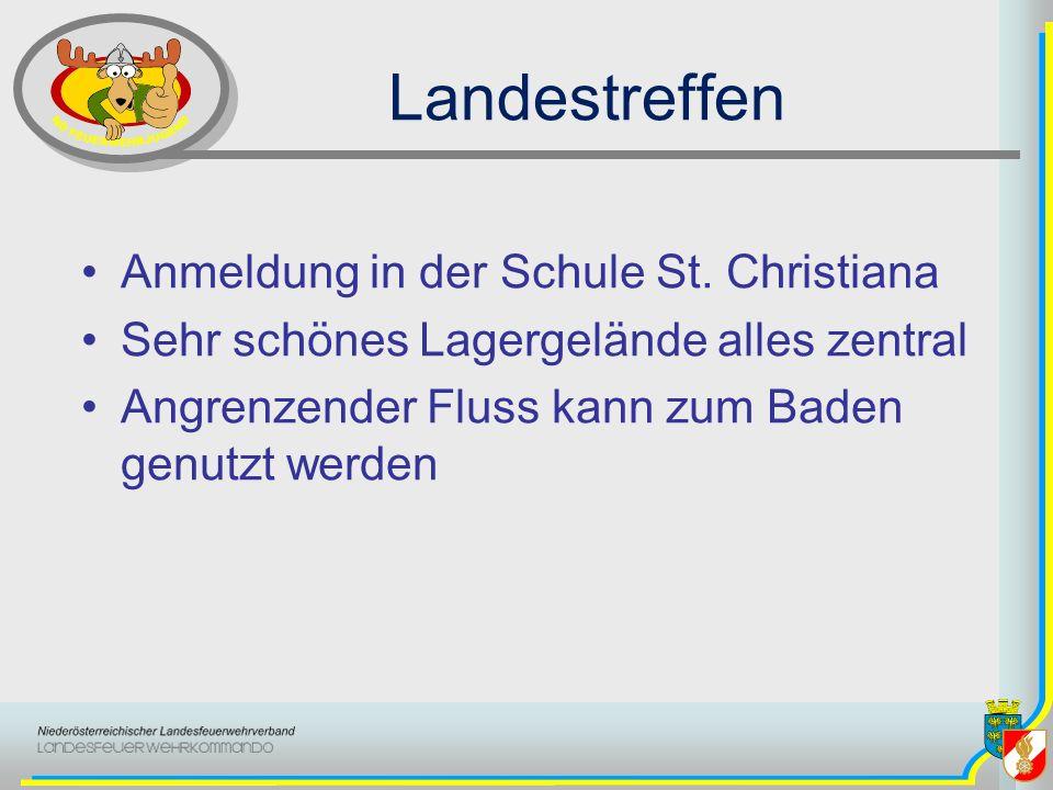Landestreffen Anmeldung in der Schule St. Christiana Sehr schönes Lagergelände alles zentral Angrenzender Fluss kann zum Baden genutzt werden
