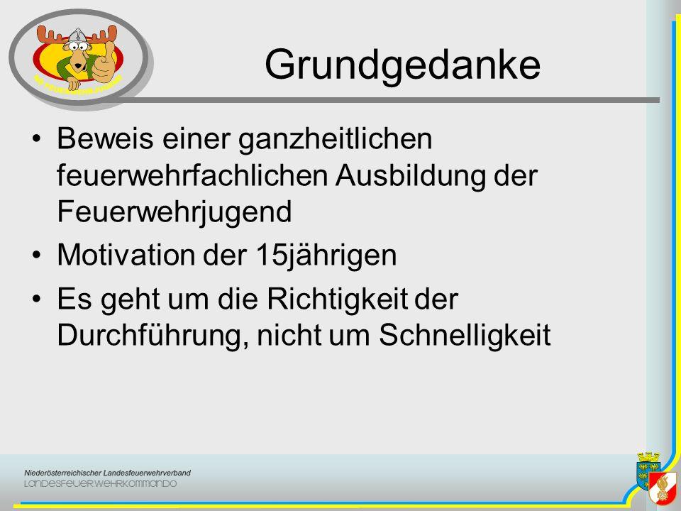 Grundgedanke Beweis einer ganzheitlichen feuerwehrfachlichen Ausbildung der Feuerwehrjugend Motivation der 15jährigen Es geht um die Richtigkeit der D