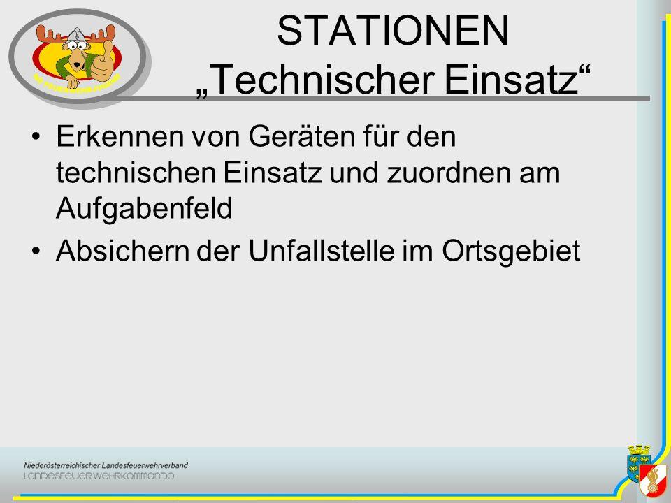STATIONEN Technischer Einsatz Erkennen von Geräten für den technischen Einsatz und zuordnen am Aufgabenfeld Absichern der Unfallstelle im Ortsgebiet