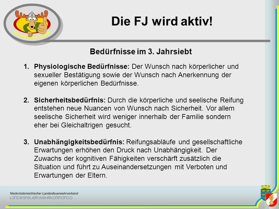 Die FJ wird aktiv! 1.Physiologische Bedürfnisse: Der Wunsch nach körperlicher und sexueller Bestätigung sowie der Wunsch nach Anerkennung der eigenen