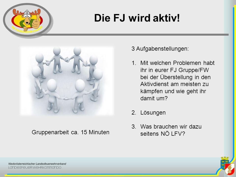 Die FJ wird aktiv! Gruppenarbeit ca. 15 Minuten 3 Aufgabenstellungen: 1.Mit welchen Problemen habt ihr in eurer FJ Gruppe/FW bei der Überstellung in d