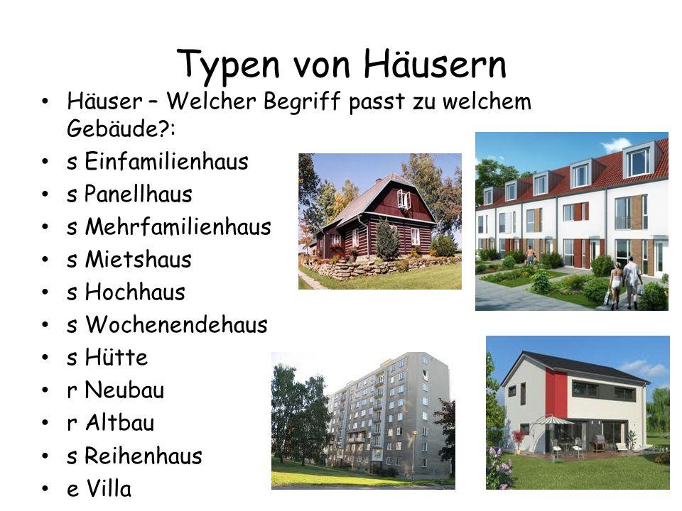 Typen von Häusern Häuser – Welcher Begriff passt zu welchem Gebäude?: s Einfamilienhaus s Panellhaus s Mehrfamilienhaus s Mietshaus s Hochhaus s Woche