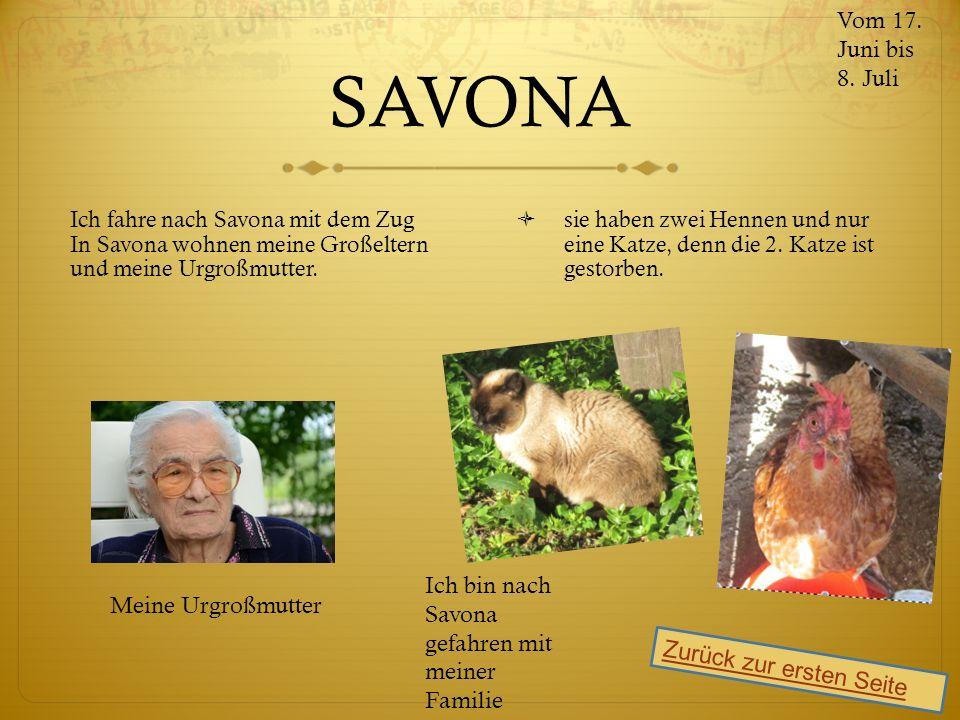 SAVONA Ich fahre nach Savona mit dem Zug In Savona wohnen meine Großeltern und meine Urgroßmutter.