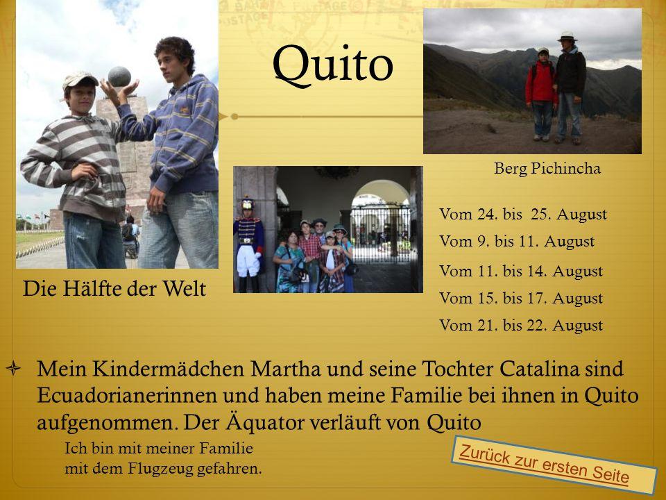 Quito Mein Kindermädchen Martha und seine Tochter Catalina sindEcuadorianerinnen und haben meine Familie bei ihnen in Quito aufgenommen.