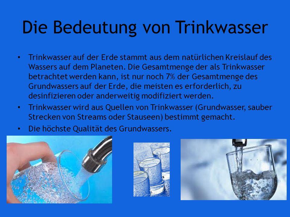 Die Bedeutung von Trinkwasser Trinkwasser auf der Erde stammt aus dem natürlichen Kreislauf des Wassers auf dem Planeten.