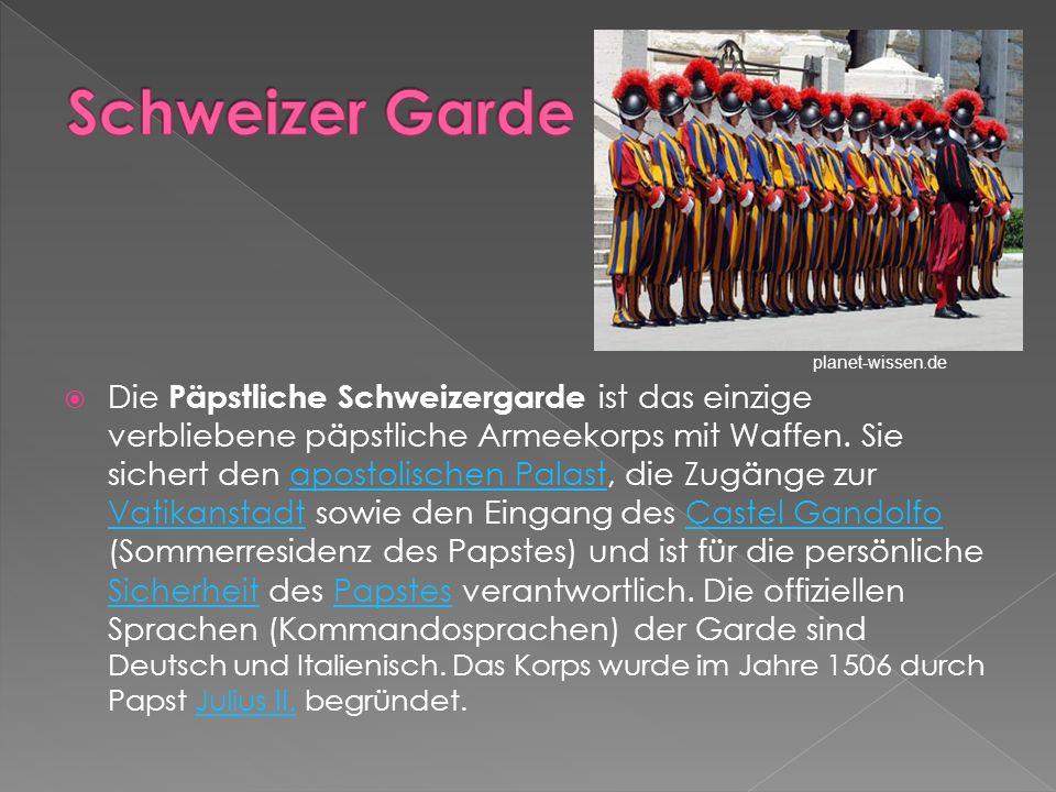 Die Päpstliche Schweizergarde ist das einzige verbliebene päpstliche Armeekorps mit Waffen. Sie sichert den apostolischen Palast, die Zugänge zur Vati