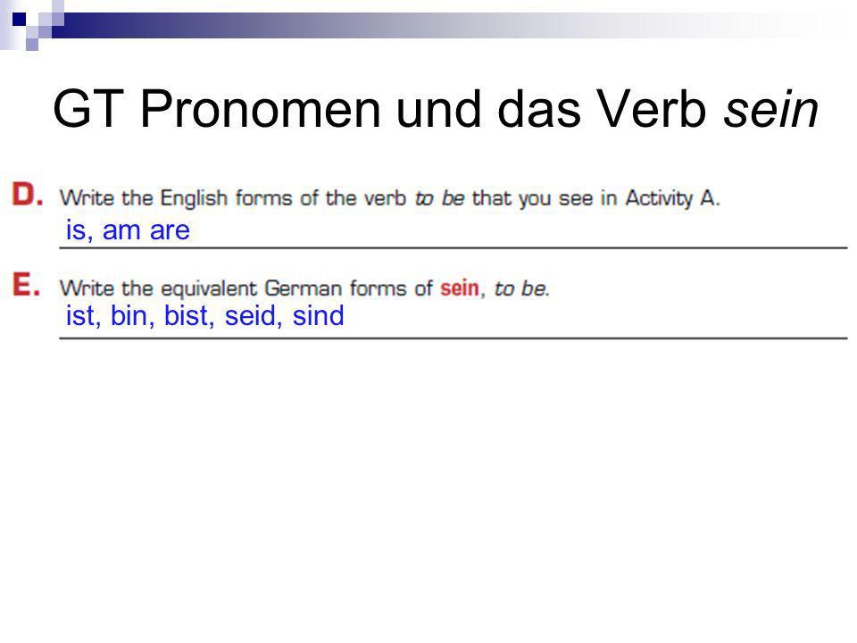 GT Pronomen und das Verb sein is, am are ist, bin, bist, seid, sind