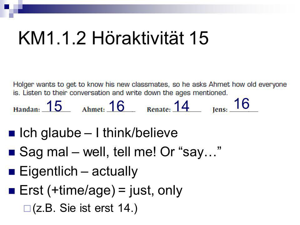 KM1.1.2 Höraktivität 15 Ich glaube – I think/believe Sag mal – well, tell me.