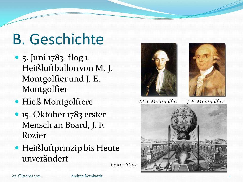 B. Geschichte 5. Juni 1783 flog 1. Heißluftballon von M. J. Montgolfier und J. E. Montgolfier Hieß Montgolfiere 15. Oktober 1783 erster Mensch an Boar