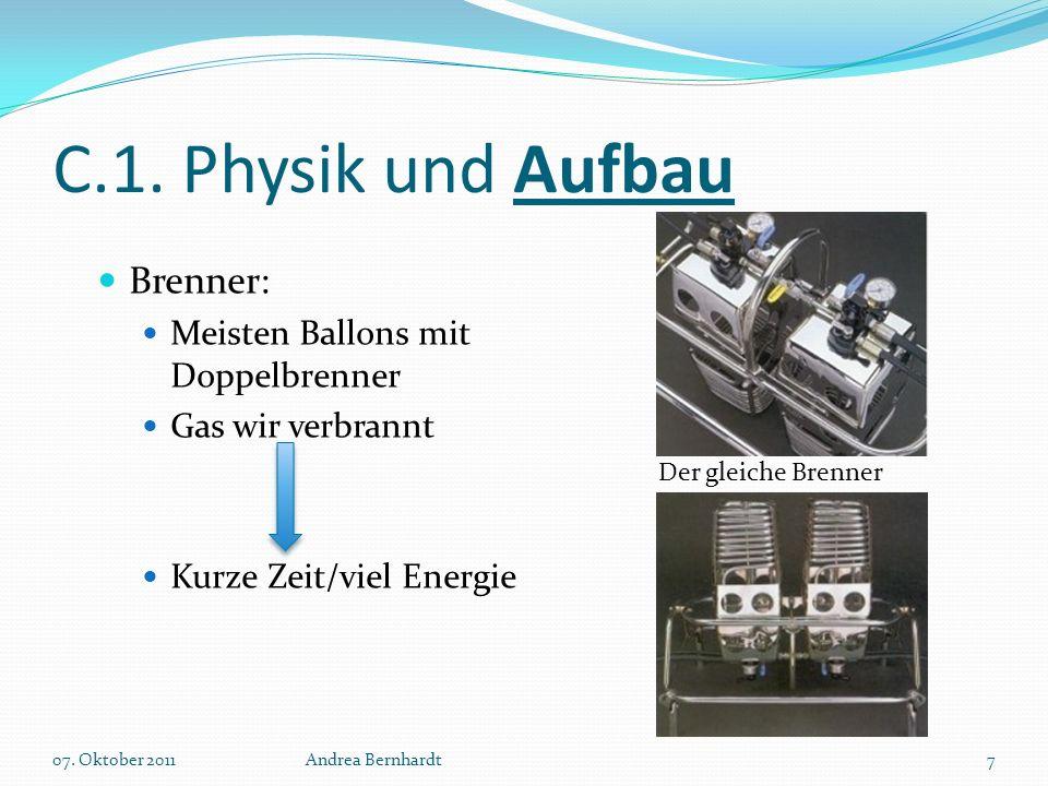 C.1. Physik und Aufbau Brenner: Meisten Ballons mit Doppelbrenner Gas wir verbrannt Kurze Zeit/viel Energie 07. Oktober 2011Andrea Bernhardt7 Der glei