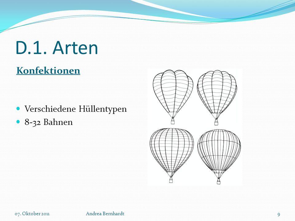 D.1. Arten Konfektionen Verschiedene Hüllentypen 8-32 Bahnen 07. Oktober 2011Andrea Bernhardt9