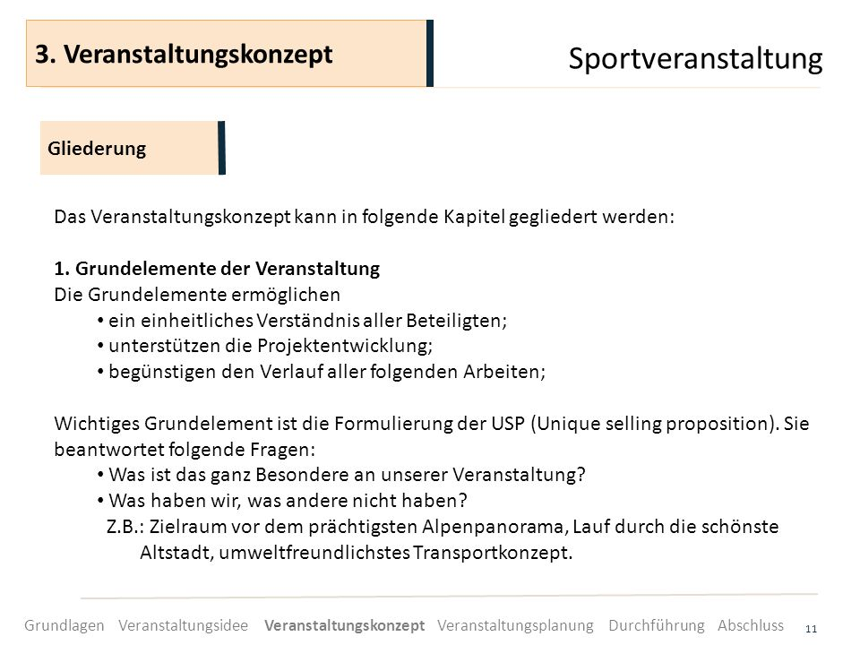 Sportveranstaltung 11 Das Veranstaltungskonzept kann in folgende Kapitel gegliedert werden: 1. Grundelemente der Veranstaltung Die Grundelemente ermög