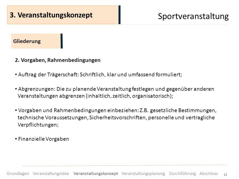 Sportveranstaltung 12 2. Vorgaben, Rahmenbedingungen Auftrag der Trägerschaft: Schriftlich, klar und umfassend formuliert; Abgrenzungen: Die zu planen