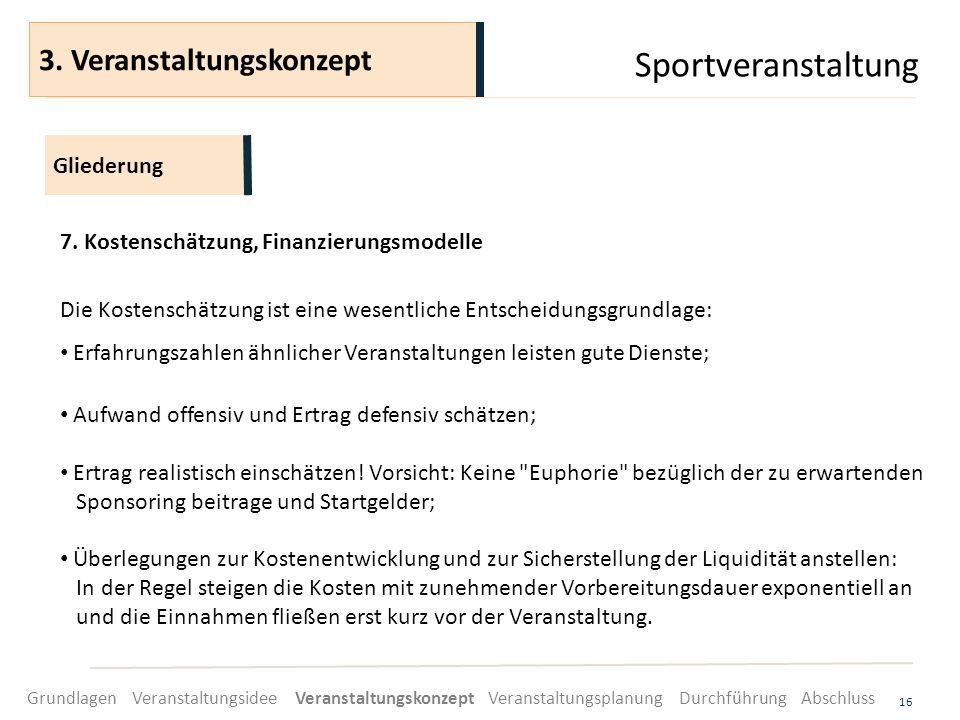 Sportveranstaltung 16 7. Kostenschätzung, Finanzierungsmodelle Die Kostenschätzung ist eine wesentliche Entscheidungsgrundlage: Erfahrungszahlen ähnli