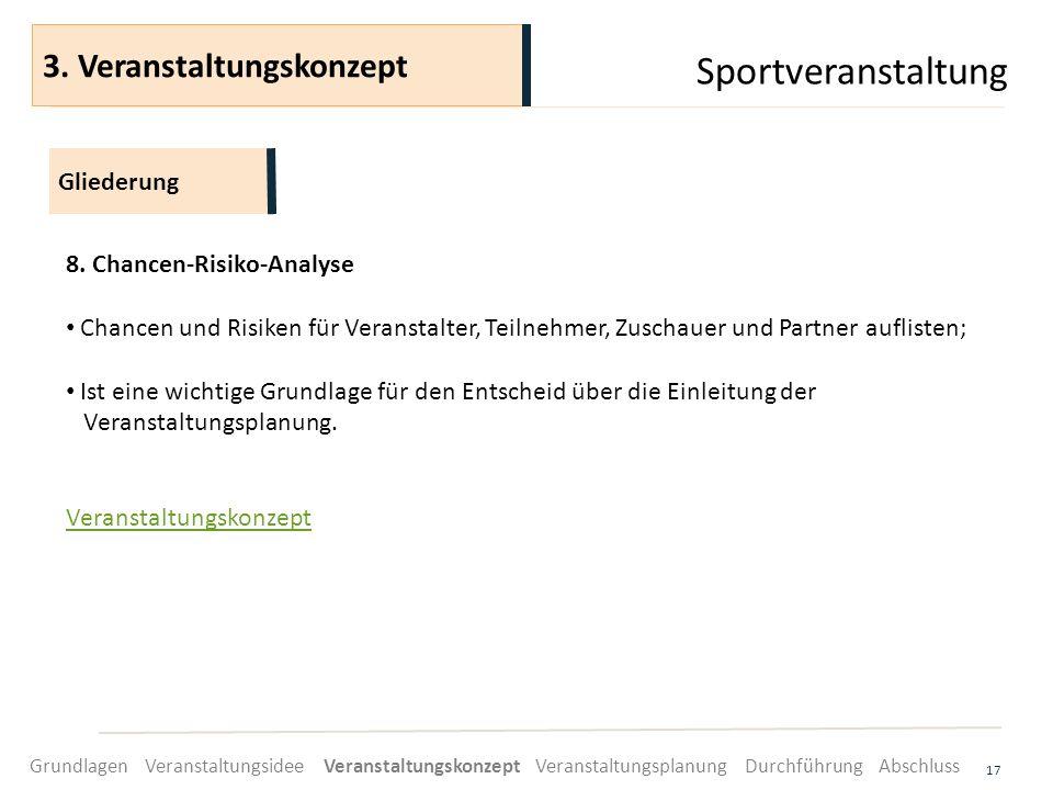 Sportveranstaltung 17 8. Chancen-Risiko-Analyse Chancen und Risiken für Veranstalter, Teilnehmer, Zuschauer und Partner auflisten; Ist eine wichtige G