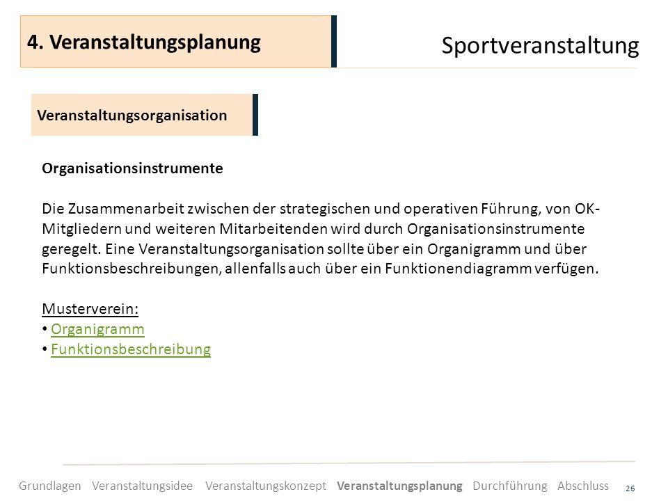 Sportveranstaltung 26 Organisationsinstrumente Die Zusammenarbeit zwischen der strategischen und operativen Führung, von OK- Mitgliedern und weiteren