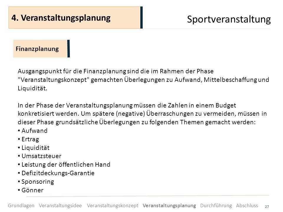 Sportveranstaltung 27 Ausgangspunkt für die Finanzplanung sind die im Rahmen der Phase